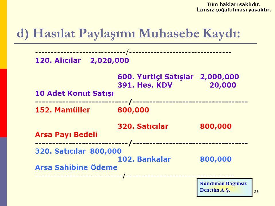 23 d) Hasılat Paylaşımı Muhasebe Kaydı: -----------------------------/--------------------------------- 120. Alıcılar 2,020,000 600. Yurtiçi Satışlar2