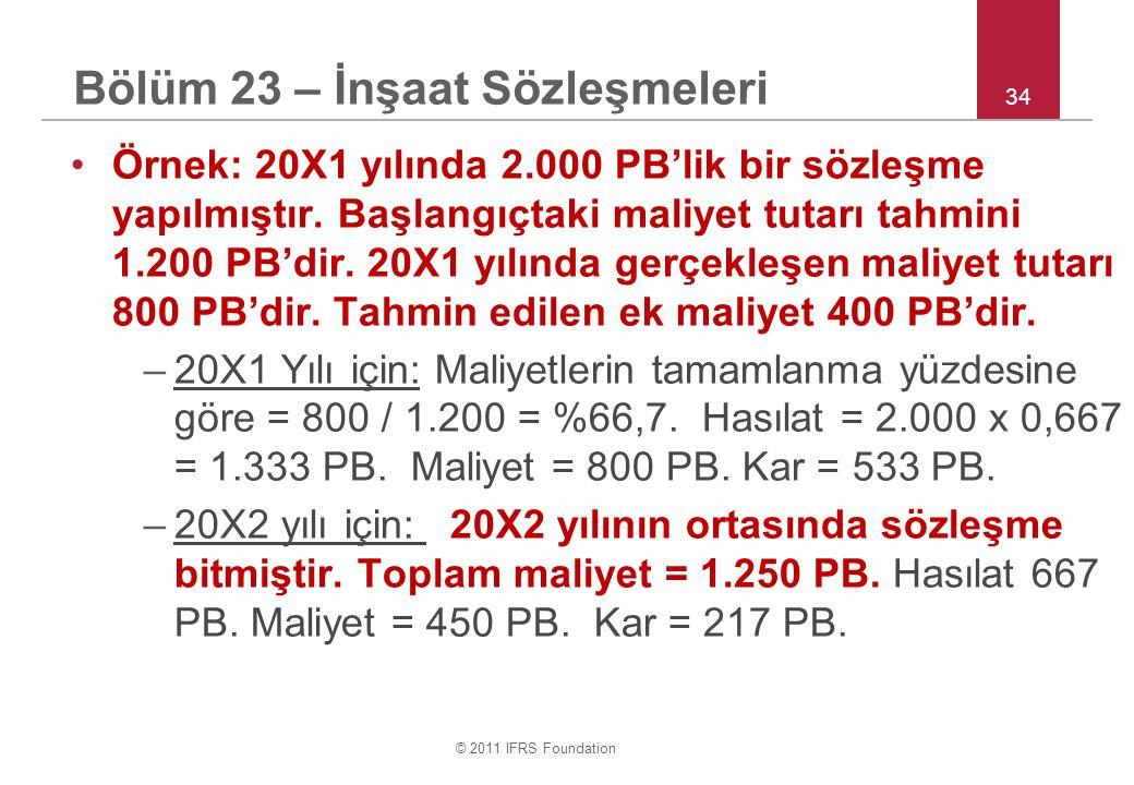 © 2011 IFRS Foundation 34 •Örnek: 20X1 yılında 2.000 PB'lik bir sözleşme yapılmıştır.