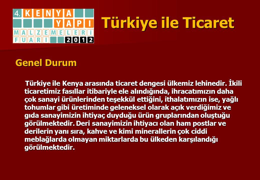 Türkiye ile Ticaret Genel Durum Türkiye ile Kenya arasında ticaret dengesi ülkemiz lehinedir. İkili ticaretimiz fasıllar itibariyle ele alındığında, i