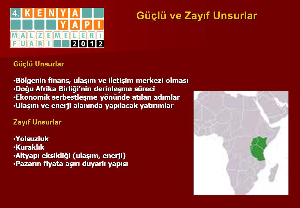 Güçlü ve Zayıf Unsurlar Güçlü Unsurlar • Bölgenin finans, ulaşım ve iletişim merkezi olması • Doğu Afrika Birliği'nin derinleşme süreci • Ekonomik ser