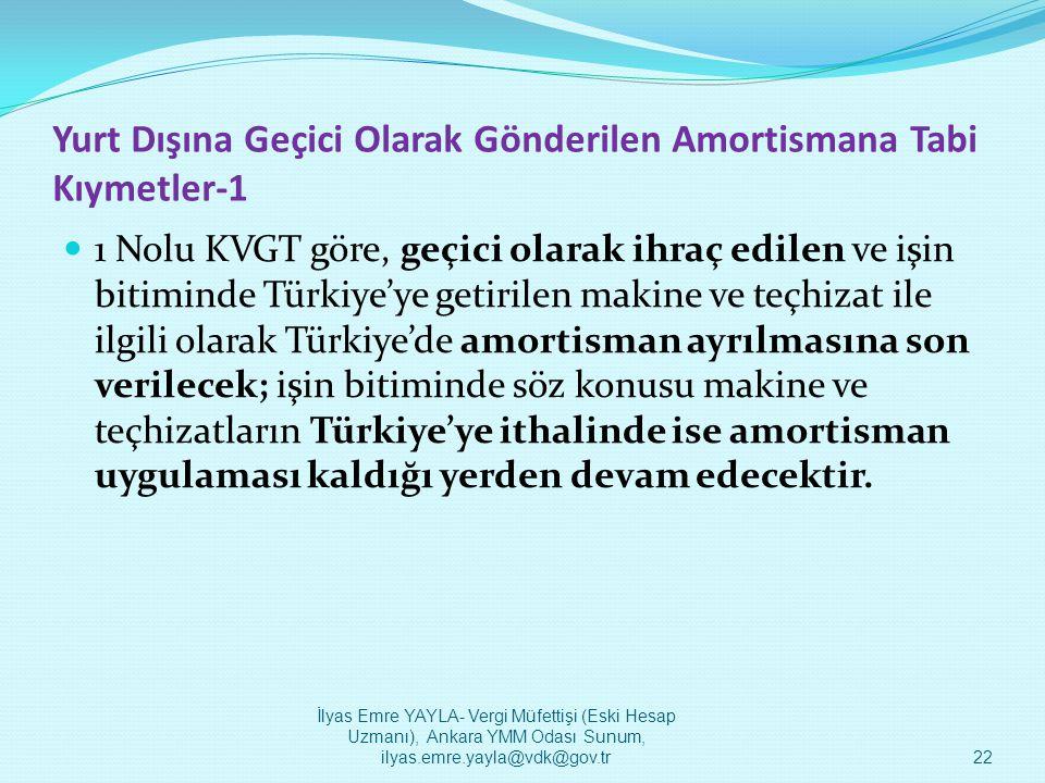 Yurt Dışına Geçici Olarak Gönderilen Amortismana Tabi Kıymetler-1  1 Nolu KVGT göre, geçici olarak ihraç edilen ve işin bitiminde Türkiye'ye getirile