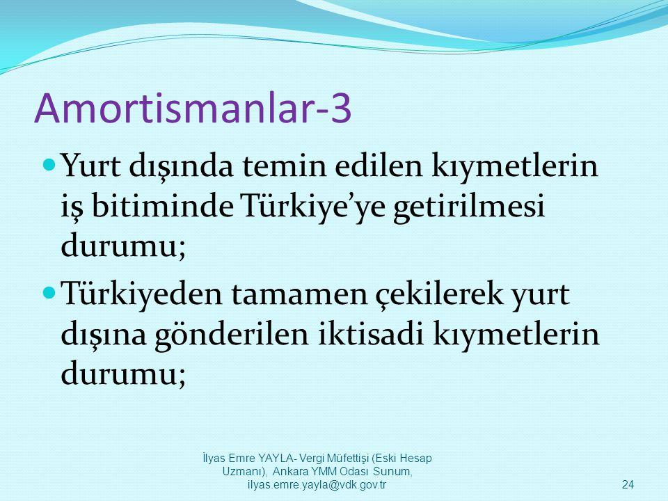 Amortismanlar-3  Yurt dışında temin edilen kıymetlerin iş bitiminde Türkiye'ye getirilmesi durumu;  Türkiyeden tamamen çekilerek yurt dışına gönderi