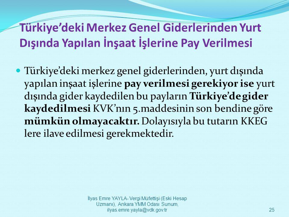 Türkiye'deki Merkez Genel Giderlerinden Yurt Dışında Yapılan İnşaat İşlerine Pay Verilmesi  Türkiye'deki merkez genel giderlerinden, yurt dışında yap