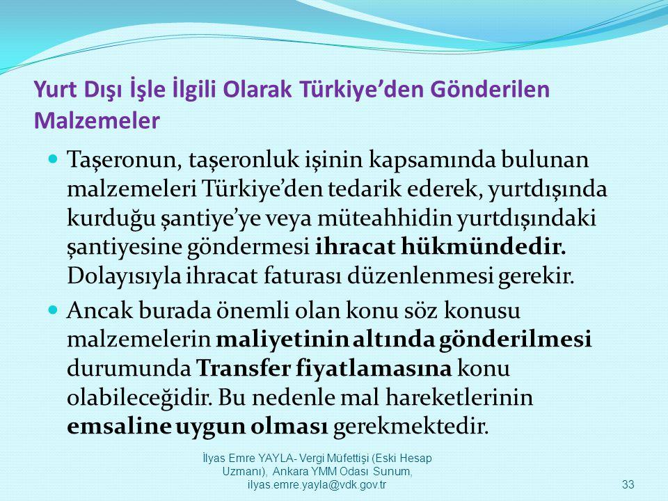 Yurt Dışı İşle İlgili Olarak Türkiye'den Gönderilen Malzemeler  Taşeronun, taşeronluk işinin kapsamında bulunan malzemeleri Türkiye'den tedarik edere