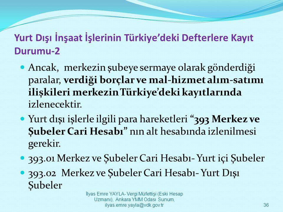 Yurt Dışı İnşaat İşlerinin Türkiye'deki Defterlere Kayıt Durumu-2  Ancak, merkezin şubeye sermaye olarak gönderdiği paralar, verdiği borçlar ve mal-h
