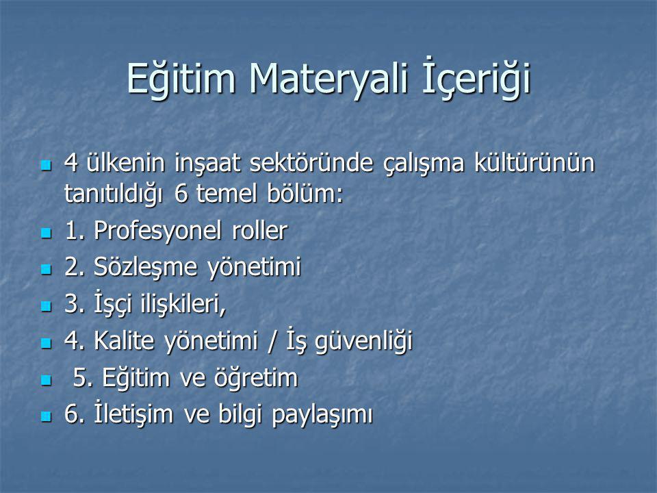 Eğitim Materyali İçeriği  4 ülkenin inşaat sektöründe çalışma kültürünün tanıtıldığı 6 temel bölüm:  1.