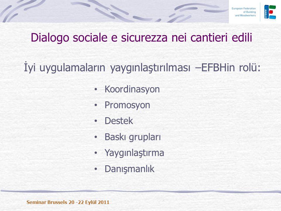 İyi uygulamaların yaygınlaştırılması –EFBHin rolü: • Koordinasyon • Promosyon • Destek • Baskı grupları • Yaygınlaştırma • Danışmanlık Dialogo sociale e sicurezza nei cantieri edili Seminar Brussels 20 -22 Eylül 2011