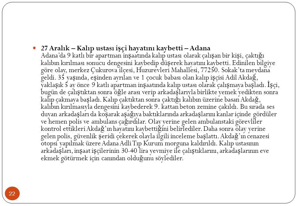 22  27 Aralık – Kalıp ustası i ş çi hayatını kaybetti – Adana Adana'da 9 katlı bir apartman in ş aatında kalıp ustası olarak çalı ş an bir ki ş i, ça