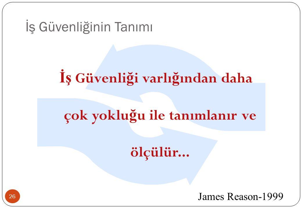 İş Güvenliğinin Tanımı 26 James Reason-1999 İş Güvenli ğ i varlı ğ ından daha çok yoklu ğ u ile tanımlanır ve ölçülür...
