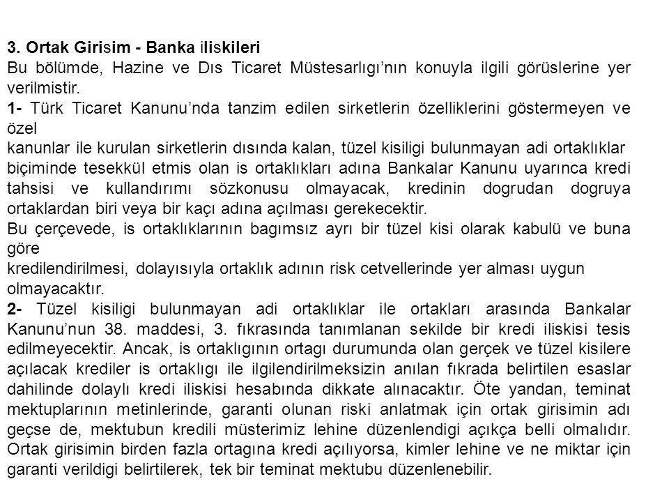 3. Ortak Girisim - Banka iliskileri Bu bölümde, Hazine ve Dıs Ticaret Müstesarlıgı'nın konuyla ilgili görüslerine yer verilmistir. 1- Türk Ticaret Kan