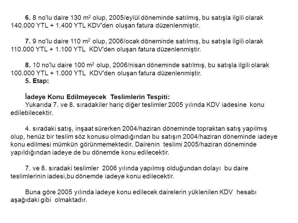 6. 8 no'lu daire 130 m 2 olup, 2005/eylül döneminde satılmış, bu satışla ilgili olarak 140.000 YTL + 1.400 YTL KDV'den oluşan fatura düzenlenmiştir. 7