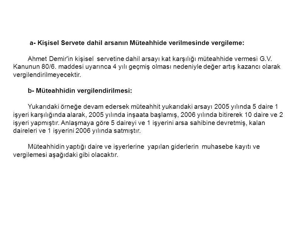 a- Kişisel Servete dahil arsanın Müteahhide verilmesinde vergileme: Ahmet Demir'in kişisel servetine dahil arsayı kat karşılığı müteahhide vermesi G.V
