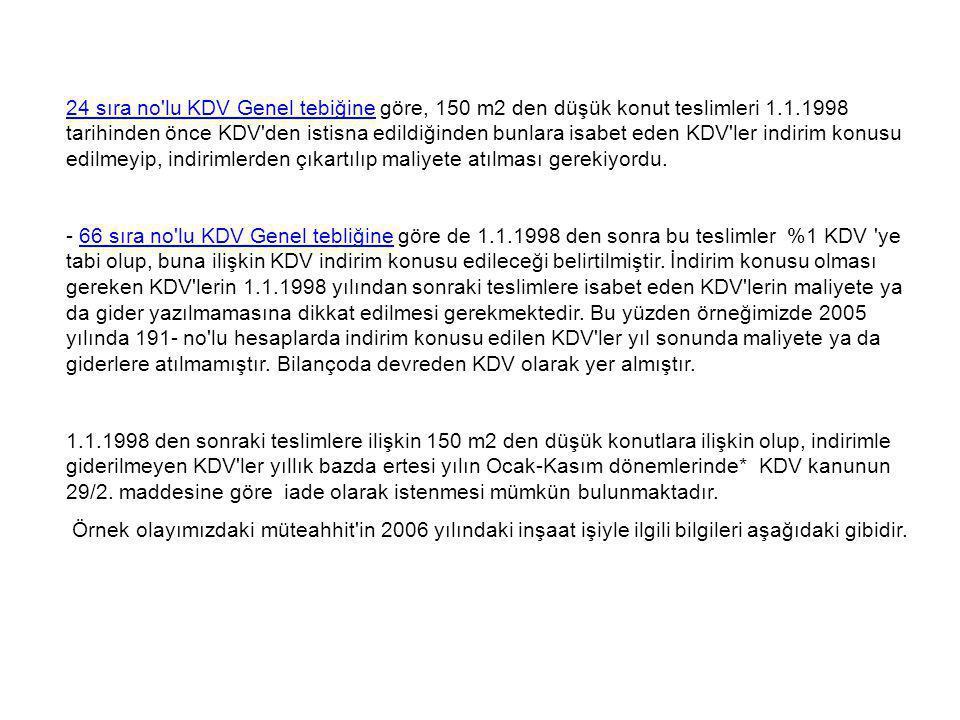 24 sıra no'lu KDV Genel tebiğine24 sıra no'lu KDV Genel tebiğine göre, 150 m2 den düşük konut teslimleri 1.1.1998 tarihinden önce KDV'den istisna edil