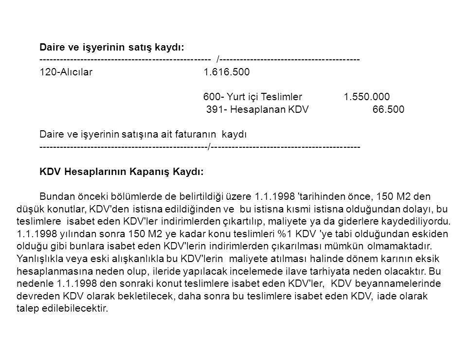 Daire ve işyerinin satış kaydı: -------------------------------------------------- /----------------------------------------- 120-Alıcılar1.616.500 60