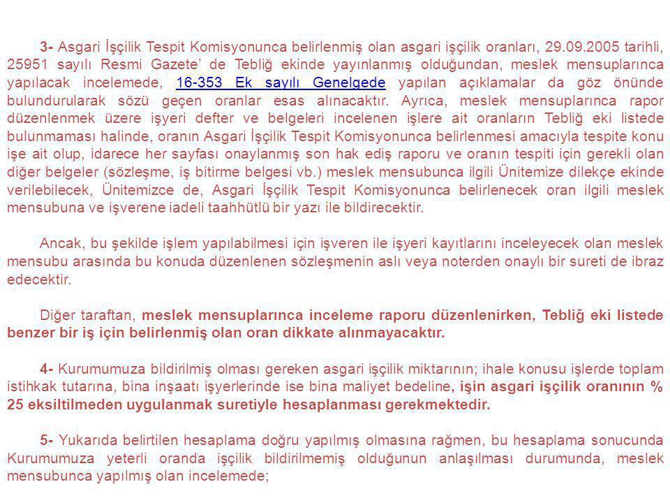 3- Asgari İşçilik Tespit Komisyonunca belirlenmiş olan asgari işçilik oranları, 29.09.2005 tarihli, 25951 sayılı Resmi Gazete' de Tebliğ ekinde yayınl