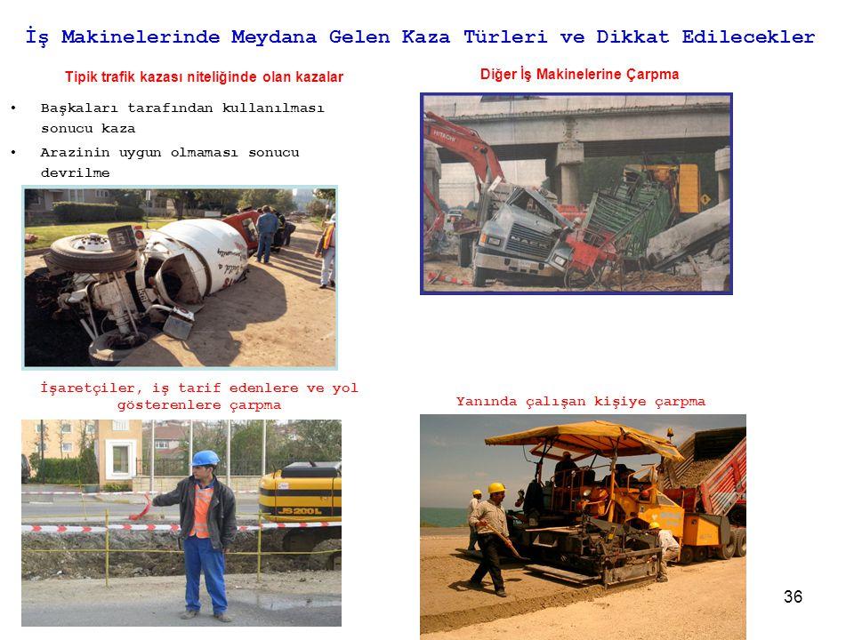 36 İş Makinelerinde Meydana Gelen Kaza Türleri ve Dikkat Edilecekler Tipik trafik kazası niteliğinde olan kazalar •Başkaları tarafından kullanılması s