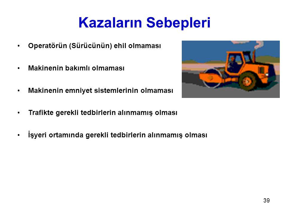 39 Kazaların Sebepleri •Operatörün (Sürücünün) ehil olmaması •Makinenin bakımlı olmaması •Makinenin emniyet sistemlerinin olmaması •Trafikte gerekli t