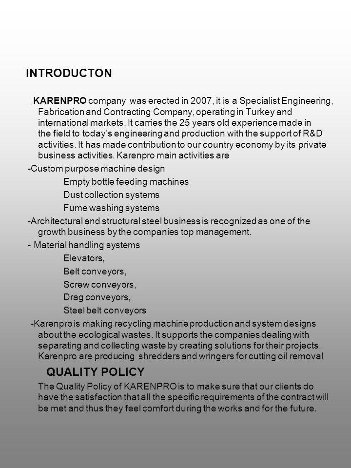 ŞİRKETİMİZ HAKKINDA; Karenpro Mühendislik İnşaat Makina Sanayi ve Ticaret Ltd.