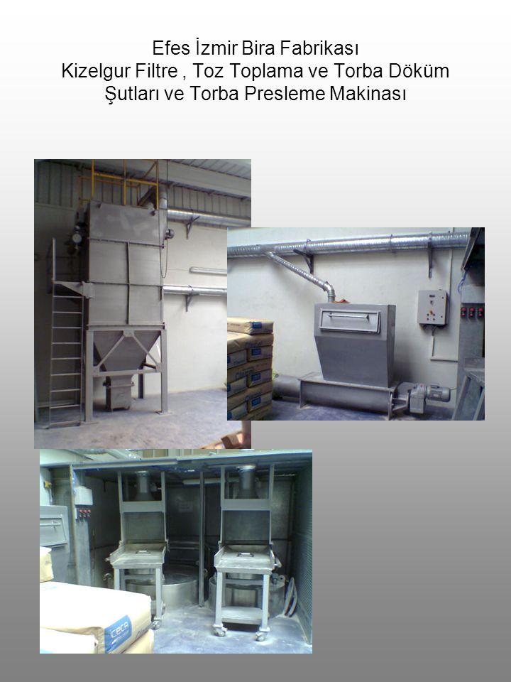 Efes İzmir Bira Fabrikası Kizelgur Filtre, Toz Toplama ve Torba Döküm Şutları ve Torba Presleme Makinası