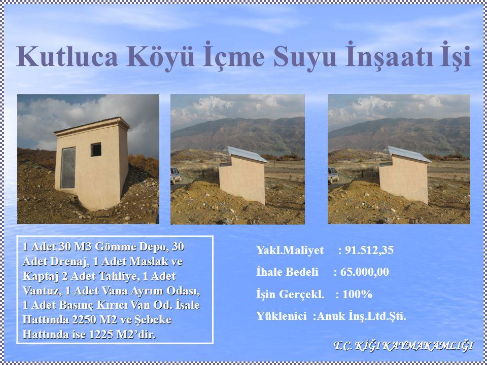 Kutluca Köyü İçme Suyu İnşaatı İşi Yakl.Maliyet : 91.512,35 İhale Bedeli : 65.000,00 İşin Gerçekl.