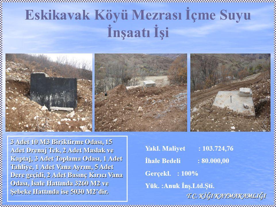 Eskikavak Köyü Mezrası İçme Suyu İnşaatı İşi Yakl.