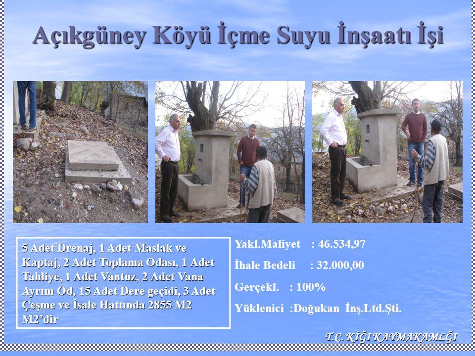 Açıkgüney Köyü İçme Suyu İnşaatı İşi Yakl.Maliyet : 46.534,97 İhale Bedeli : 32.000,00 Gerçekl.