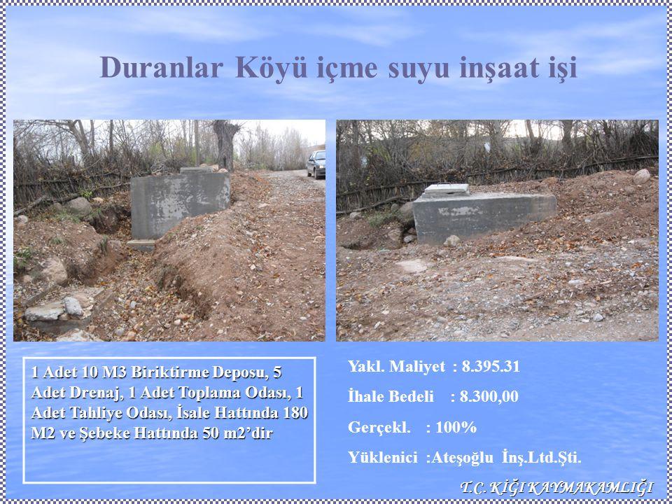 Duranlar Köyü içme suyu inşaat işi Yakl. Maliyet : 8.395.31 İhale Bedeli : 8.300,00 Gerçekl.