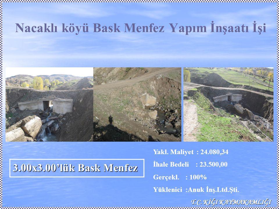 Nacaklı köyü Bask Menfez Yapım İnşaatı İşi Yakl.