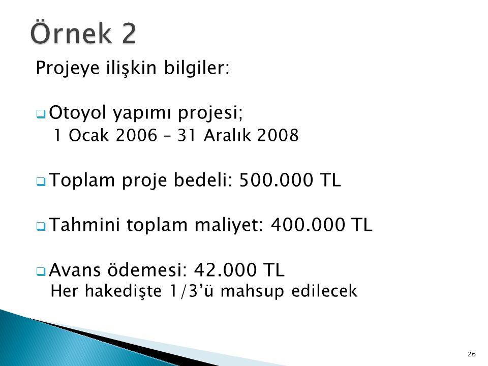 Projeye ilişkin bilgiler:  Otoyol yapımı projesi; 1 Ocak 2006 – 31 Aralık 2008  Toplam proje bedeli: 500.000 TL  Tahmini toplam maliyet: 400.000 TL