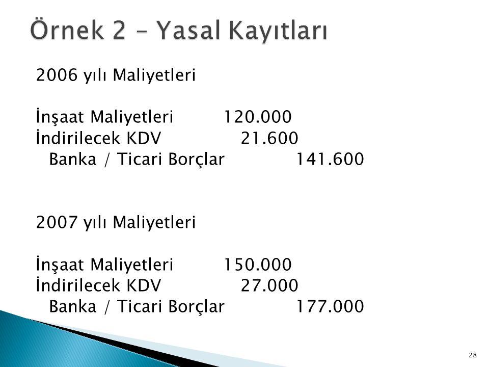 2006 yılı Maliyetleri İnşaat Maliyetleri 120.000 İndirilecek KDV 21.600 Banka / Ticari Borçlar 141.600 2007 yılı Maliyetleri İnşaat Maliyetleri 150.00