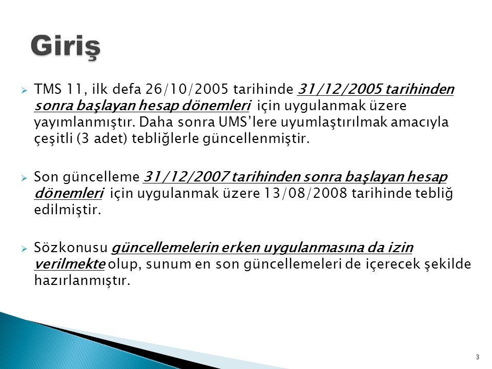  TMS 11, ilk defa 26/10/2005 tarihinde 31/12/2005 tarihinden sonra başlayan hesap dönemleri için uygulanmak üzere yayımlanmıştır. Daha sonra UMS'lere