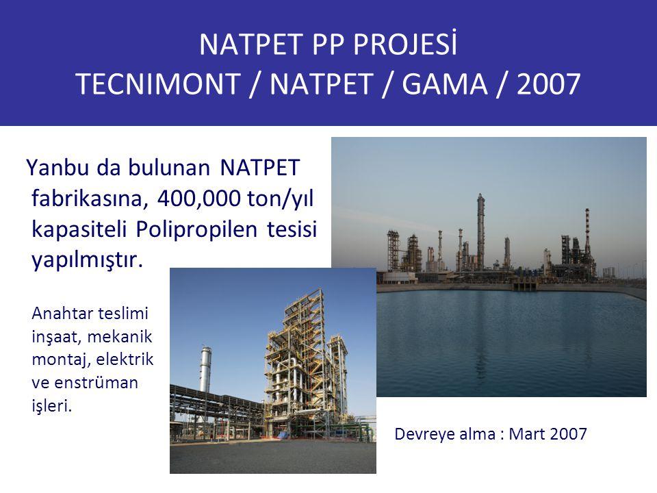 NATPET PP PROJESİ TECNIMONT / NATPET / GAMA / 2007 Yanbu da bulunan NATPET fabrikasına, 400,000 ton/yıl kapasiteli Polipropilen tesisi yapılmıştır. De