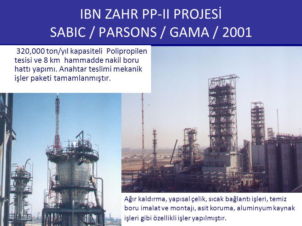 IBN ZAHR PP-II PROJESİ SABIC / PARSONS / GAMA / 2001 320,000 ton/yıl kapasiteli Polipropilen tesisi ve 8 km hammadde nakil boru hattı yapımı. Anahtar