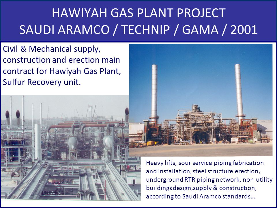 HAWIYAH GAS PLANT PROJECT SAUDI ARAMCO / TECHNIP / GAMA / 2001 Civil & Mechanical supply, construction and erection main contract for Hawiyah Gas Plan