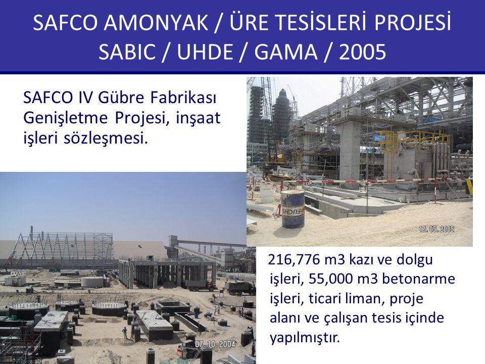 SAFCO AMONYAK / ÜRE TESİSLERİ PROJESİ SABIC / UHDE / GAMA / 2005 SAFCO IV Gübre Fabrikası Genişletme Projesi, inşaat işleri sözleşmesi.. 216,776 m3 ka