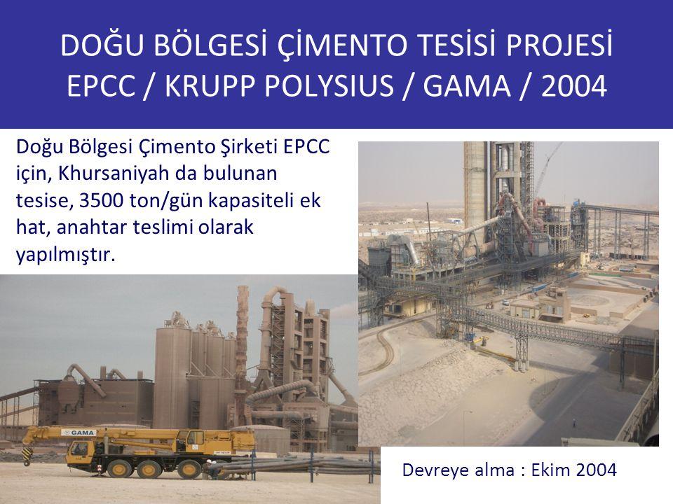 DOĞU BÖLGESİ ÇİMENTO TESİSİ PROJESİ EPCC / KRUPP POLYSIUS / GAMA / 2004 Doğu Bölgesi Çimento Şirketi EPCC için, Khursaniyah da bulunan tesise, 3500 to