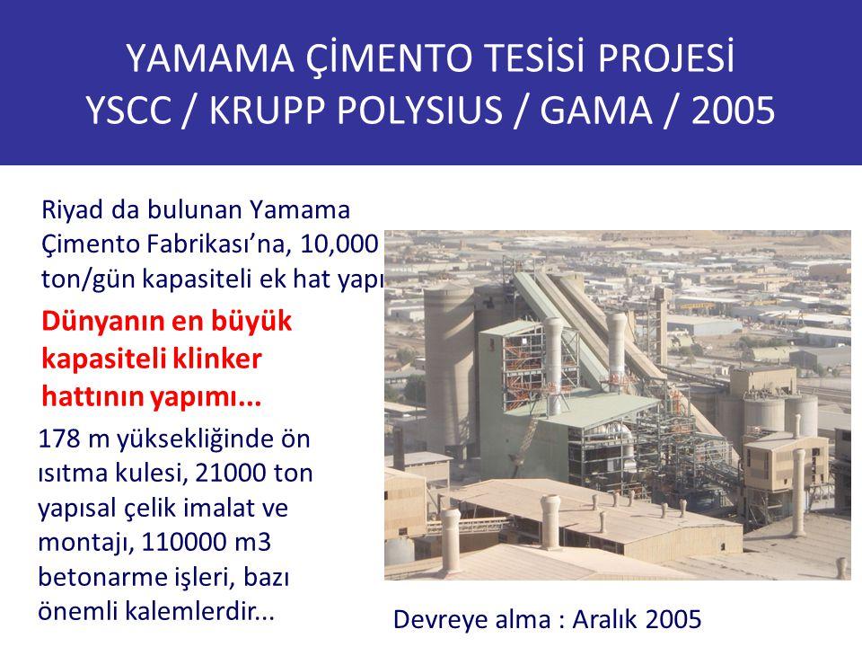 YAMAMA ÇİMENTO TESİSİ PROJESİ YSCC / KRUPP POLYSIUS / GAMA / 2005 Riyad da bulunan Yamama Çimento Fabrikası'na, 10,000 ton/gün kapasiteli ek hat yapım