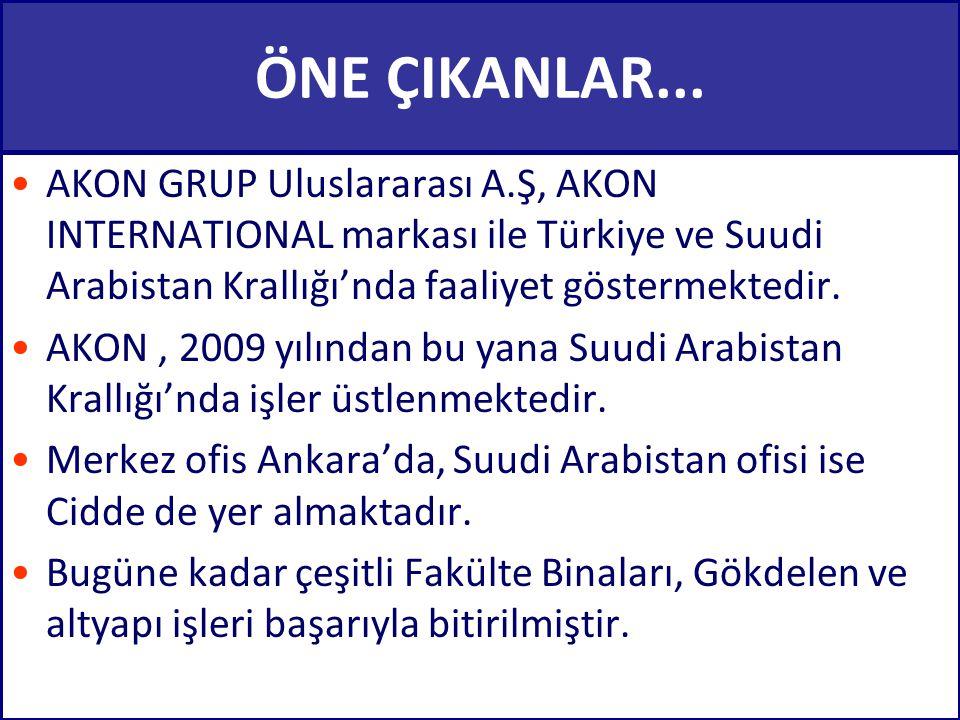 ÖNE ÇIKANLAR... •AKON GRUP Uluslararası A.Ş, AKON INTERNATIONAL markası ile Türkiye ve Suudi Arabistan Krallığı'nda faaliyet göstermektedir. •AKON, 20