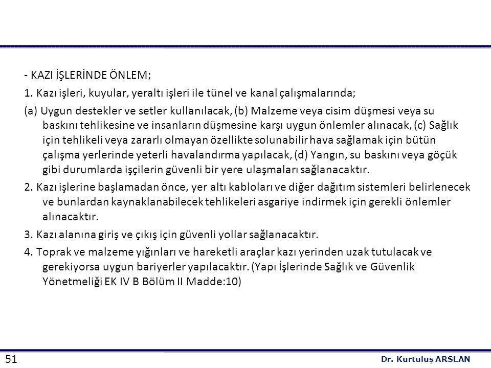 51 Dr.Kurtuluş ARSLAN - KAZI İŞLERİNDE ÖNLEM; 1.