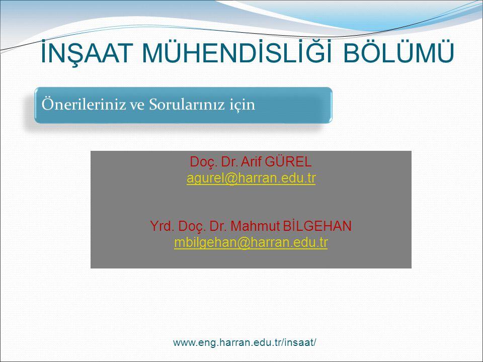 www.eng.harran.edu.tr/insaat/ İNŞAAT MÜHENDİSLİĞİ BÖLÜMÜ Önerileriniz ve Sorularınız için Doç. Dr. Arif GÜREL agurel@harran.edu.tr Yrd. Doç. Dr. Mahmu