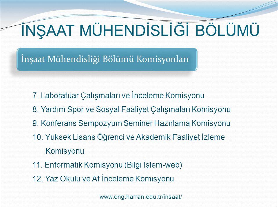 İnşaat Mühendisliği Bölümü Komisyonları 7.Laboratuar Çalışmaları ve İnceleme Komisyonu 8.