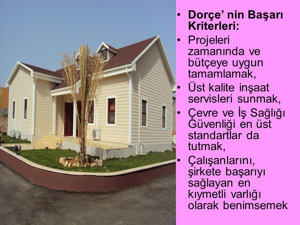 •Dorçe' nin Başarı Kriterleri: •Projeleri zamanında ve bütçeye uygun tamamlamak, •Üst kalite inşaat servisleri sunmak, •Çevre ve İş Sağlığı Güvenliği