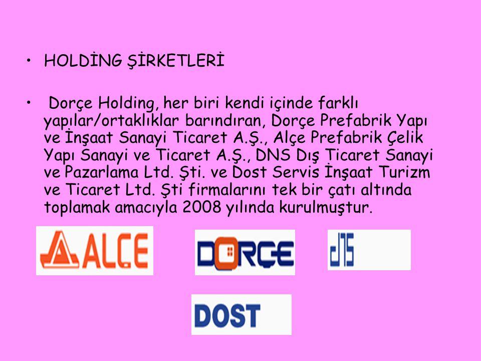 •HOLDİNG ŞİRKETLERİ • Dorçe Holding, her biri kendi içinde farklı yapılar/ortaklıklar barındıran, Dorçe Prefabrik Yapı ve İnşaat Sanayi Ticaret A.Ş.,