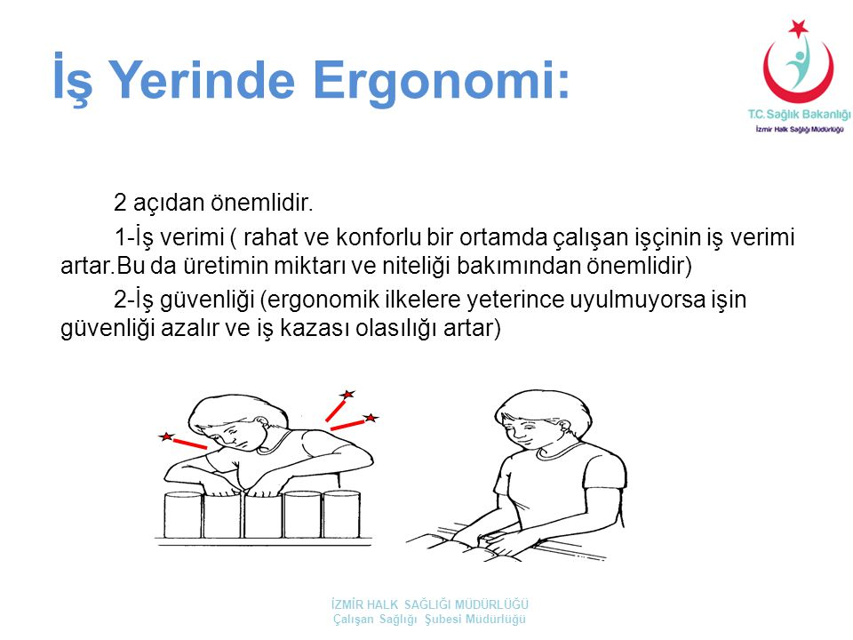 İş Yerinde Ergonomi: 2 açıdan önemlidir. 1-İş verimi ( rahat ve konforlu bir ortamda çalışan işçinin iş verimi artar.Bu da üretimin miktarı ve niteliğ