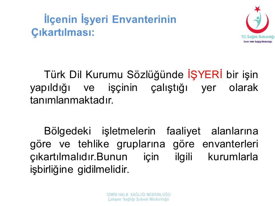 İlçenin İşyeri Envanterinin Çıkartılması: Türk Dil Kurumu Sözlüğünde İŞYERİ bir işin yapıldığı ve işçinin çalıştığı yer olarak tanımlanmaktadır. Bölge