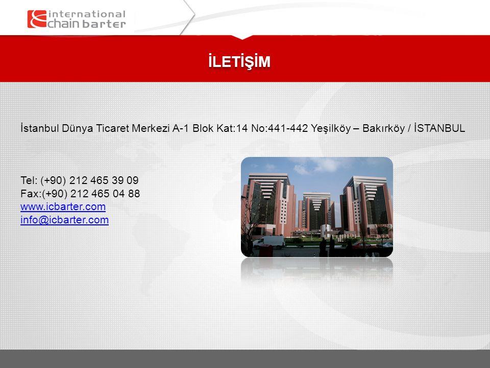 İLETİŞİM İstanbul Dünya Ticaret Merkezi A-1 Blok Kat:14 No:441-442 Yeşilköy – Bakırköy / İSTANBUL Tel: (+90) 212 465 39 09 Fax:(+90) 212 465 04 88 www