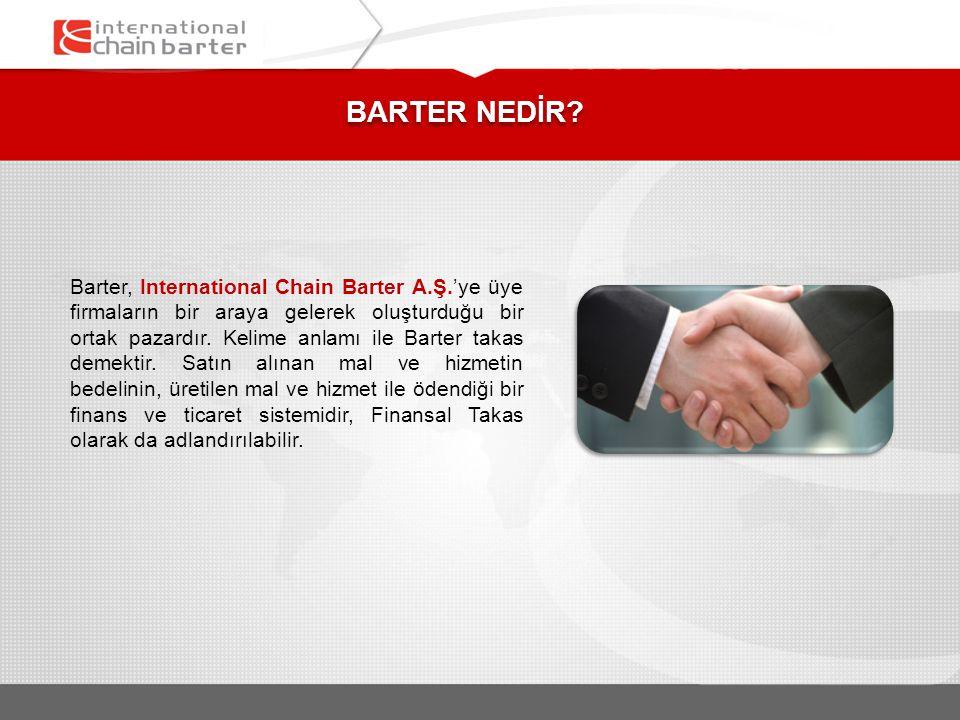 BARTER NEDİR? Barter, International Chain Barter A.Ş.'ye üye firmaların bir araya gelerek oluşturduğu bir ortak pazardır. Kelime anlamı ile Barter tak