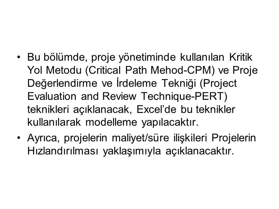 •Bu bölümde, proje yönetiminde kullanılan Kritik Yol Metodu (Critical Path Mehod-CPM) ve Proje Değerlendirme ve İrdeleme Tekniği (Project Evaluation and Review Technique-PERT) teknikleri açıklanacak, Excel'de bu teknikler kullanılarak modelleme yapılacaktır.