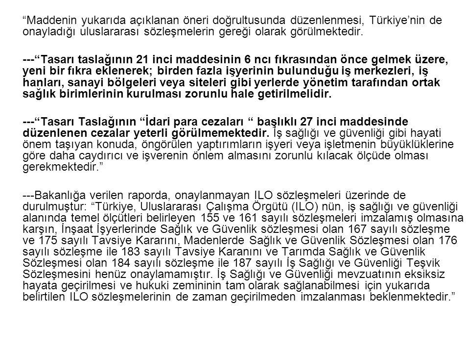 """""""Maddenin yukarıda açıklanan öneri doğrultusunda düzenlenmesi, Türkiye'nin de onayladığı uluslararası sözleşmelerin gereği olarak görülmektedir. ---""""T"""