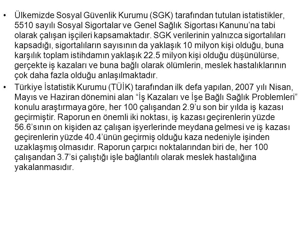 """•Türkiye İstatistik Kurumu (TÜİK) tarafından ilk defa yapılan, 2007 yılı Nisan, Mayıs ve Haziran dönemini alan """"İş Kazaları ve İşe Bağlı Sağlık Proble"""